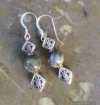 Connemara marble drop earrings. Irish made jewellery. Celtic silver pewter gift