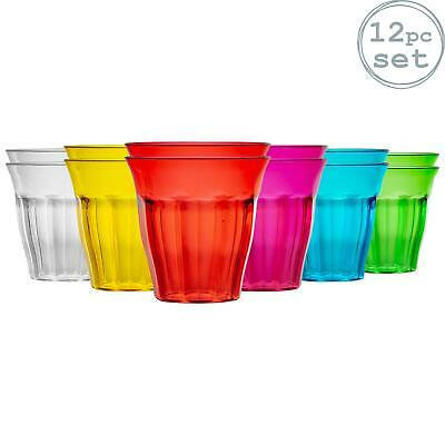 Plastic Tumblers Coloured Party Childrends Kids Outdoor Glasses 250ml x12