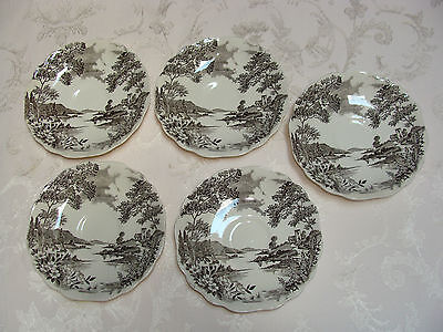 J & G MEAKIN ENGLISH STAFFORDSHIRE OLDE AVON DALE ENGLAND SOL SAUCERS (5)