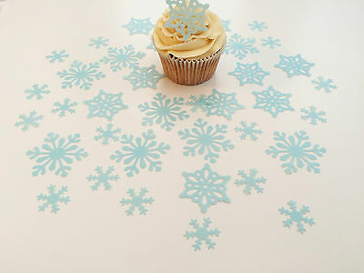 38 Edible Blue Snowflake Collection Pre Cut Wafer Cupcake Toppers Novelty