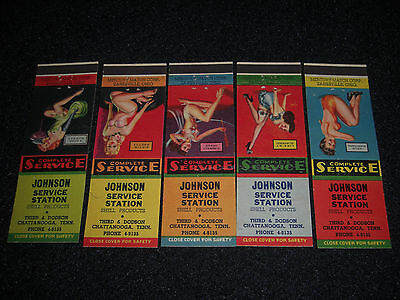 Pin-Up 1947 Johnson SHELL Service Station Matchbook Covers Set of 5