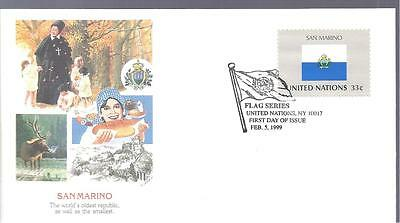 United Nations Flag Series Feb 5 1999 First Day Issue SAN MARINO