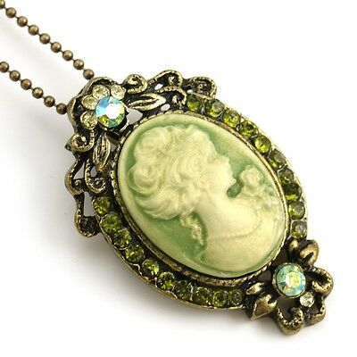 Vintage Antique Style Green Designer Cameo Necklace Chain Pendant Lady Jewelry c