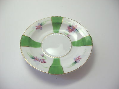 Occupied Japan Saucer Green Gold Flowers china