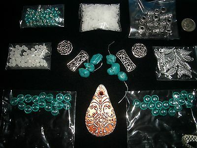 bead kit turquoise copper antiqued silver jewelry making bead kit lot loose FB