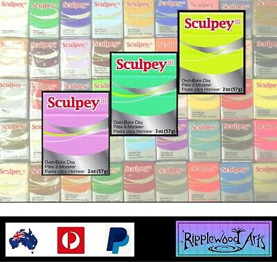 Sculpey III Oven Bake Polymer Clay - 57gm Blocks - (45 Colors Available)
