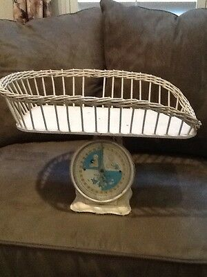 Antique Vintage Baby Scale with Wicker Basket Nursery Lithos