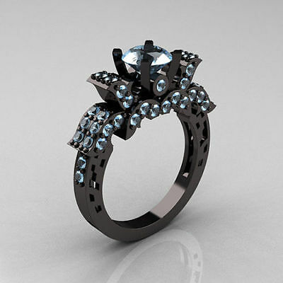 bLue Topaz Engagement/Wedding anitque ring in Sterling Silver with Black Rhodium
