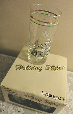 Vintage Luminarc Holiday Styles Set Of 4 Christamas Coolers 15 Oz Glass Tumbler