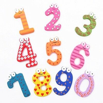 Set of 10 Pcs Number Wooden Fridge Magnets Education Learn Cute Kid Baby Toy