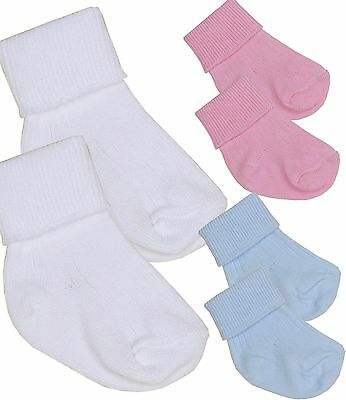 BabyPrem 2 Pairs of Premature Tiny Baby Boys Girls Cotton Socks White Blue Pink