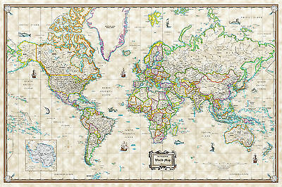 "Antique World Wall Map Poster Old World Style Modern Info - 36""x24"" Rolled Paper"