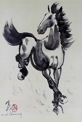 Original Artwork of Hand Painted Print of Galloping Horse, by Chinese Artist