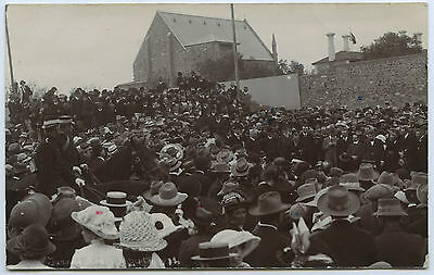 1912 Rp Postcard Pm Andrew Fisher Turning Sod Beginning E/w Rail Pt Augusta B76