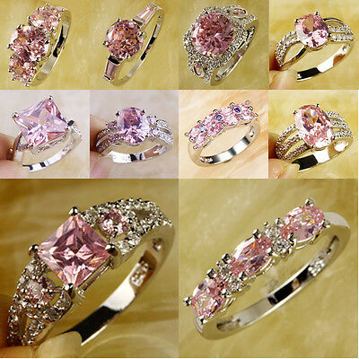Expecial Lady's Pink Topaz Gemstone Silver Ring Size 6 7 8 9 10 Gift Of Love