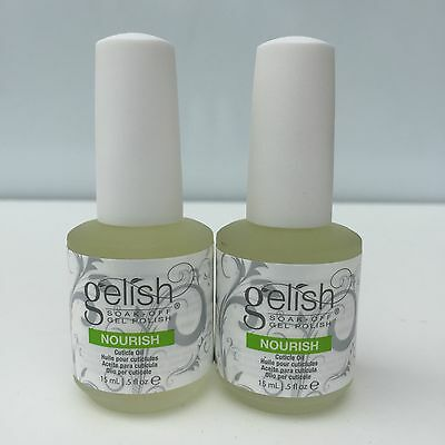 2 BOTTLES-Harmony Gelish Nourish Cuticle Hydrating Natural Oil Treatment .5 oz