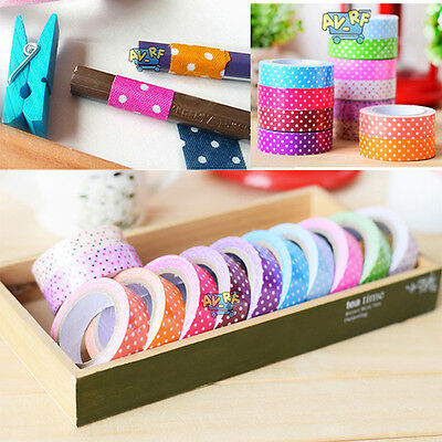 Hot 15mm Printing Fabric Cotton Washi Tape Adhesive Decorative DIY Paper Sticker