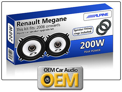 Renault Megane 3 Front Door speakers Alpine car speaker kit with Adapter Rings