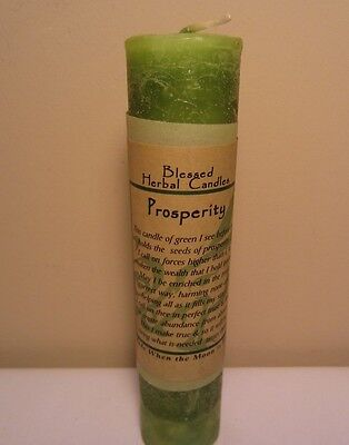 """Coventry Creations Blessed Herbal Magic Prosperity 7"""" Green Pillar Candle"""