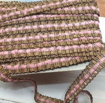 """VINTAGE ANTIQUE FRENCH GOLD METALLIC TRIM PINK CHENILLE 3/4"""" 1yd Lampshades"""