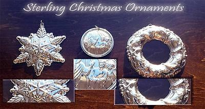 Vintage Towle .925 Sterling Silver Christmas Ornaments!
