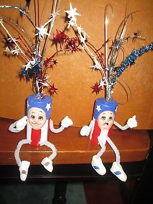 Unique Ceramic Fireworks Figurines Labor Day Americana 4th of July Decorations