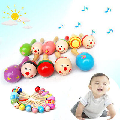 Wooden Maraca Wood Rattles Kids Musical Party favor Child Baby shaker Toy Beach