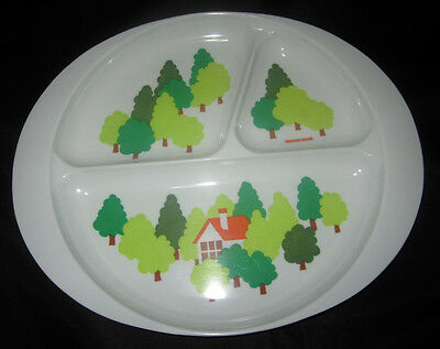 Melamine Ware Children's Divided Feeding/Serving Plate With  House & Green Theme