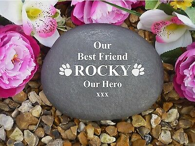 Personalised Pet Memorial - Large Pebble (Stone Effect) - Paws