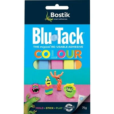 5 x Bostik Blu Tack - COLOUR Blu Tac, Pink Green Orange Yellow Blue 75g [FOR UK]
