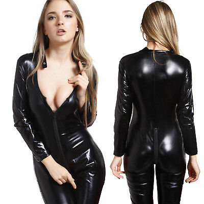 Jumpsuits Bodysuit PVC Leather Wetlook Catsuit Catwoman Zipper Teddies Costume