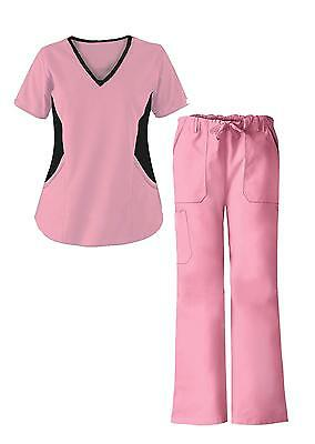 G Med Women's V Neck w. Knit Panels Scrub Top and Pant 2 Piece Fashion Sets