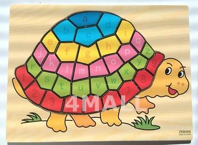 Boys Girls Kids Educational Wooden Turtle Letters Numbers Learning Puzzle Toy