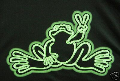 Peace Frogs Neon Tube Glows In Dark X-Large T-Shirt