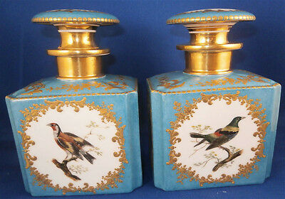 Great 19thC Feuillet Pair of Porcelain Perfume Dresser Bottle s Porzellan Flakon