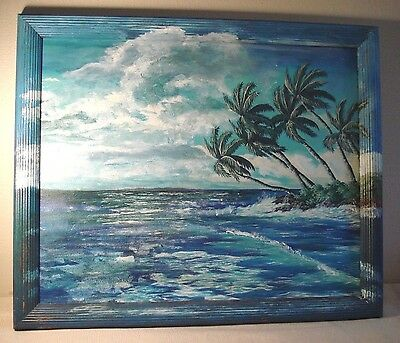 Vintage Florida Seascape painting Palms Waves Beach Bungalow Decor