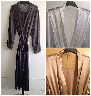 Ladies Long Satin With Lace Trimming Dressing Gown Robe In Uk Sizes 8 -24 588007294