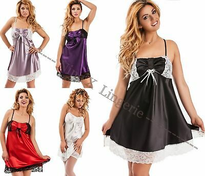 Nine X Sexy Lingerie Plus Size Underwear 8-24 Satin & Lace Babydoll Nightdress