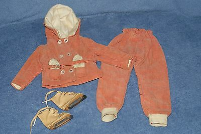 Vintage Corduroy Ski Ice Skating Doll Outfit Jacket Pants With Ice Skates 17""