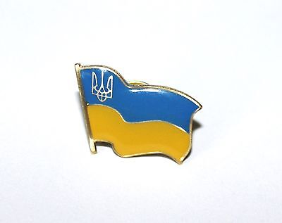 Ukrainian National Country Flag Lapel Pin Tryzub Trident Metal