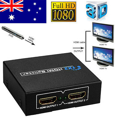 1 In 2 Out HDMI Splitter Amplifier Duplicator Switch Full HD 1080p 3D DVD