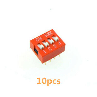 10Stk  2.54mm Pitch 4-Bit 4 Positions Ways Slide Type DIP Switch Rot