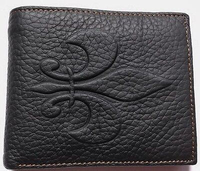 Mens FLEUR DE LIS French France BLACK Tan GENUINE Real LEATHER Bifold ID WALLET