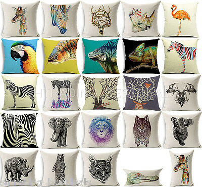 Animal Print Heavy Duty Natural Linen Cushion Cover Home Decor Throw Pillow Case
