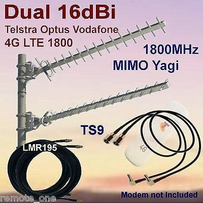 Dual 16dBi 4G MIMO 1800MHz Yagi Antenna Kit suit ZTE MF823 2x Coax  2x TS9 Patch