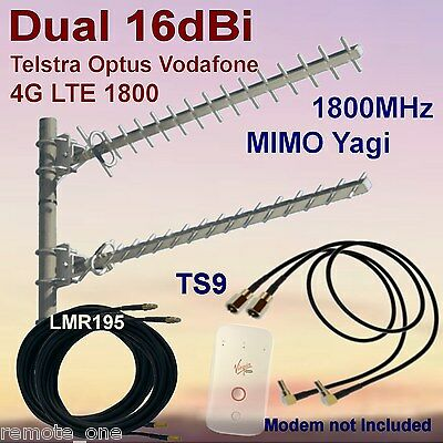 Dual 16dBi 4G MIMO 1800MHz Yagi Antenna Kit for  ZTE MF90C  2x Coax 2x TS9 Patch