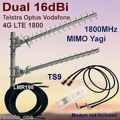 Dual 16dBi 4G MIMO 1800MHz Yagi Antenna Kit for  ZTE MF821  2xCoax 2xTS9 Patch