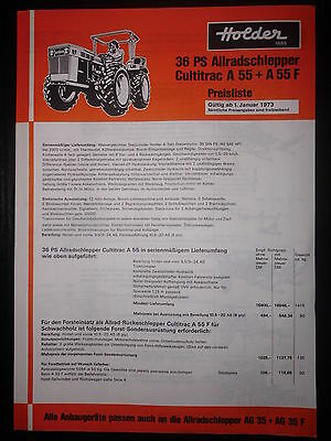 Prospekt Sales Brochure Holder Preisliste Allradschlepper 36 PS Cultitrac A 55
