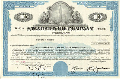 STANDARD OIL COMPANY   well stock certificate $1,000 bond certificate share
