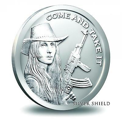 2014 Silver Shield Come And Take It Southern Freedom Girl 1 oz Silver BU Round